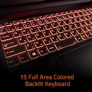 15 Full area colored backlit keyboard