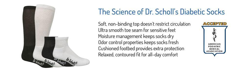 Dr. Scholl's Men's 6 Pack Over-The-Calf Diabetic Socks