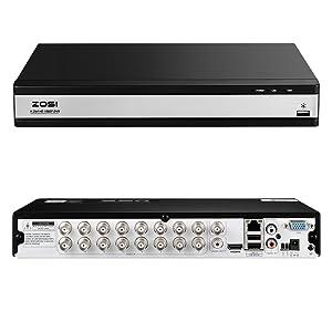 ZOSI 1080P Videograbador de Vigilancia 16 Canales Full HD Grabador DVR Sin Disco Duro para Kit de C/ámaras Seguridad Detecci/ón de Movimiento Alarma Email