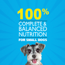 One hundred percent complete and balanced nutrition for small dogs