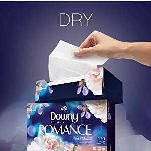 dry, downy infusions dryer sheets romantic scent, drying sheets, clothing, downy fabric softener