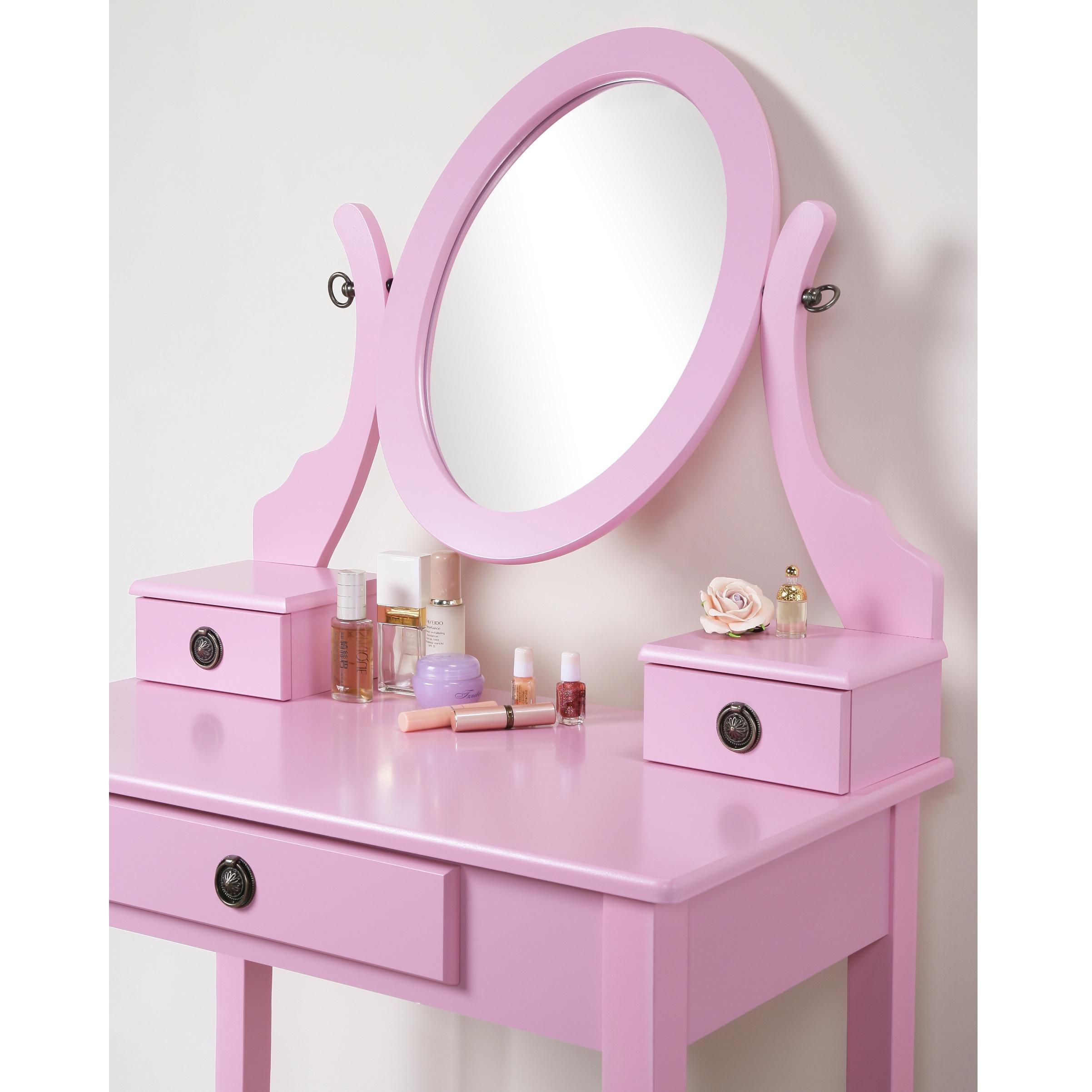 Roundhill Furniture Moniya White Wood Vanity Table And
