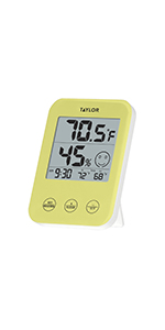 taylor weather hygrometer digital touch display yellow home environment indoor outdoor