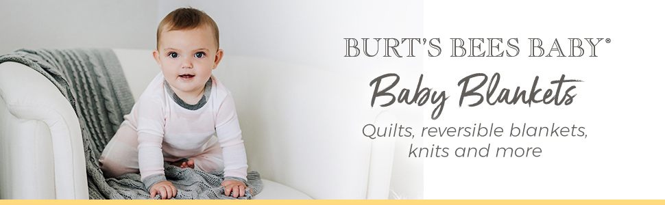 Burts Bees Baby Organic Cotton Blankets Quilts Reversible Swaddles Cable Knit Girls Boys Unisex New