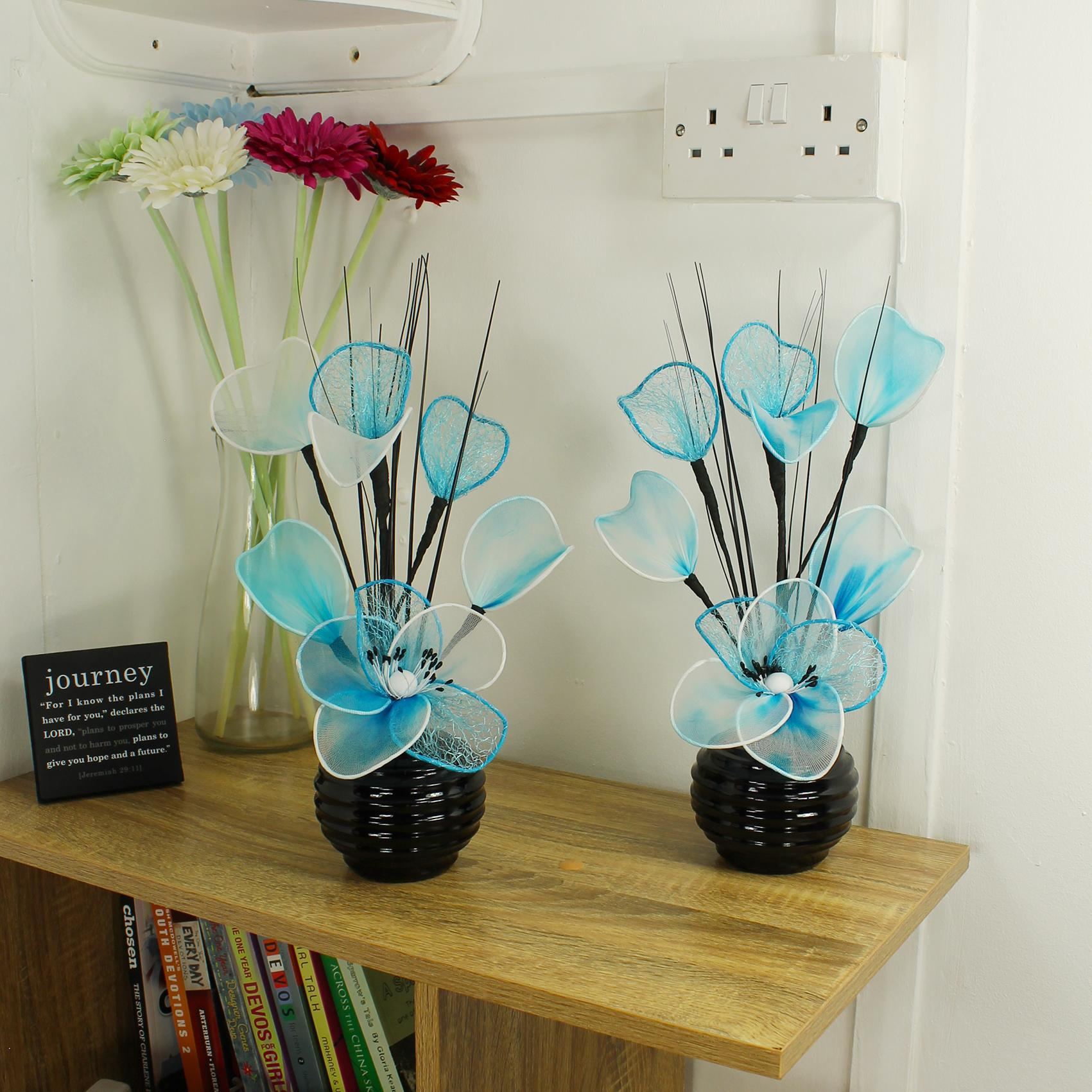 Matching Pair of Black Vases with Light Teal Blue Artificial