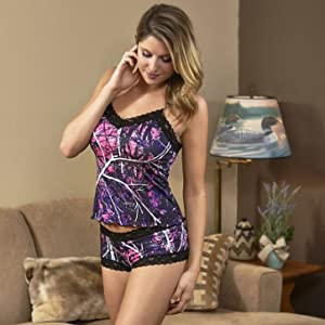 Muddy Girl Camo Camisole Black Lace Pink Purple Camouflage Lingerie