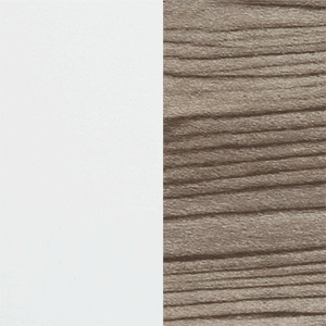 Reversible fan blade finish swatches in white and white washed pine.