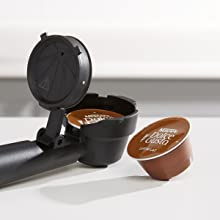 Capsule attachment with Dolce Gusto pod close-up