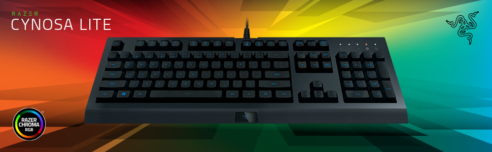 Razer Cynosa Lite - Teclado para juegos con interruptores de membrana de resorte suave (totalmente programable, iluminación RGB Chroma) QWERTY | ...