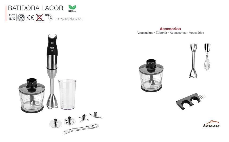 Lacor - 61671 - Batidor eléctrico con Picadora y Vaso 500ml de ...