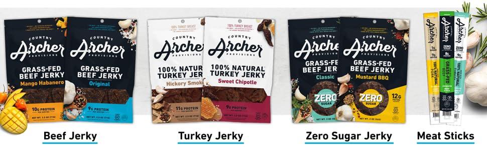 country archer beef jerky turkey jerky zero sugar jerky meat sticks