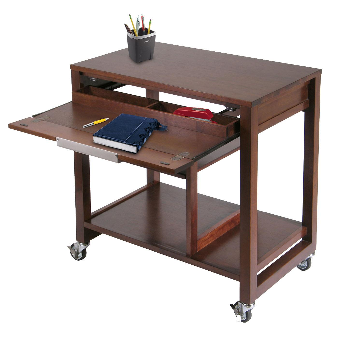 Winsome Wood Antique Walnut Rolling Computer Station