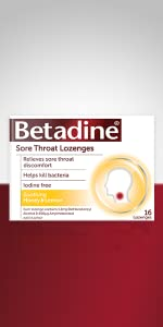 Betadine Sore Throat Lozenges;  Honey & Lemon; Menthol & Eucalyptus; Orange, 16-pack, 36-pack