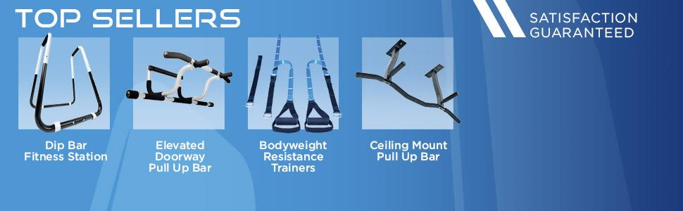 doorway pull up bar, dip stand, suspension trainers, ceiling mount pull up bar