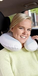 travel pillow, neck pillow, memory foam, gel, small, pillow for travel, u-shape