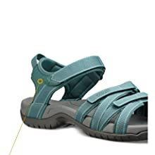 Teva Damen Tirra Leder Sommer Freizeit Trekking Outdoor Schuhe Sandalen Schwarz