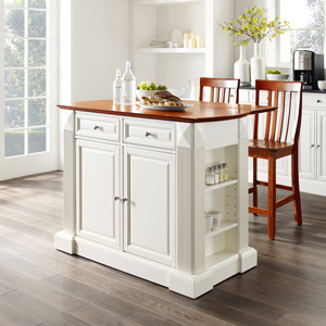 Crosley Furniture Drop Leaf Kitchen Island Breakfast Bar With 24 Inch X Back Stools White Classic Cherry Kitchen Islands Carts