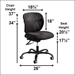 Safco vue intensive use task chair on white background with dimensions listed