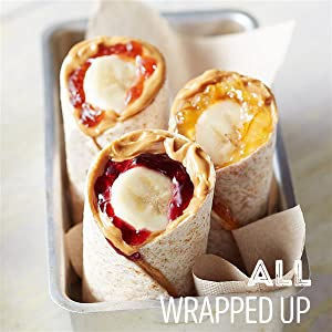 Smucker's fruit jelly and jam and Jif Peanut Butter with sliced banana rolled up in flour tortillas