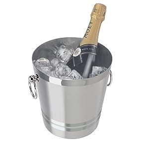 Oggi 7041.0 7041 Stainless Steel Champagne Bucket, 4-1/4-Quart, Silver