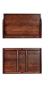 bed tray, wood, bamboo, tablet holder, ipad, laptop, breakfast tray, entertainment tray, dark wood