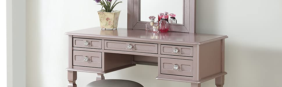 Awesome Bobkona F4186 Vanity Table With Stool Set Rose Gold Spiritservingveterans Wood Chair Design Ideas Spiritservingveteransorg
