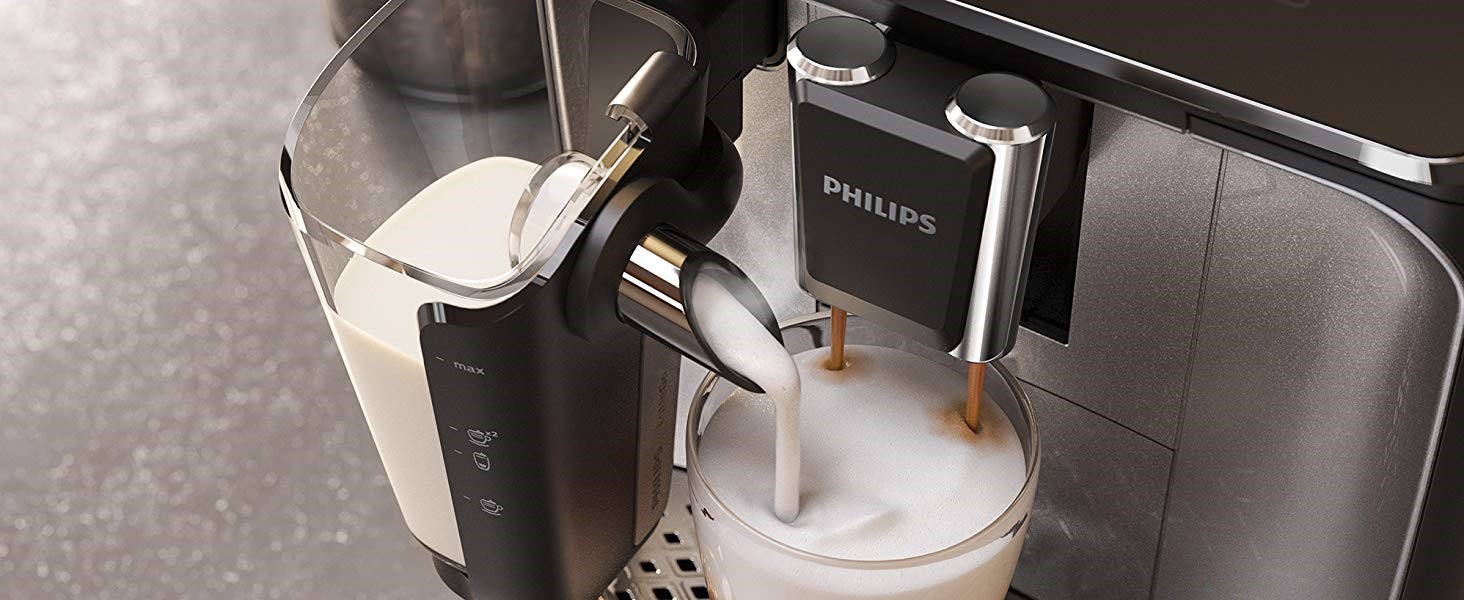 Philips Serie 3200 LatteGo EP3246/70 - Cafetera super automática, 5 bebidas de café, jarra de leche LatteGo muy fácil de limpiar, molinillo cerámico, ...