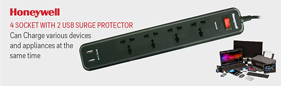 4 out surge protector with master switch + 2 USB