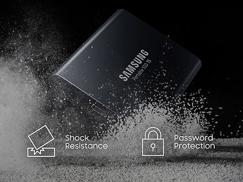 Samsung Portable SSD T5 is shock resistant and has password protection