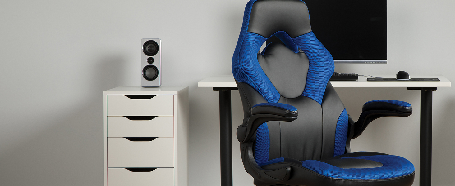 Amazon Com Ofm Ess Collection Racing Style Bonded Leather Gaming Chair In Blue Ess 3085 Blu Furniture Decor