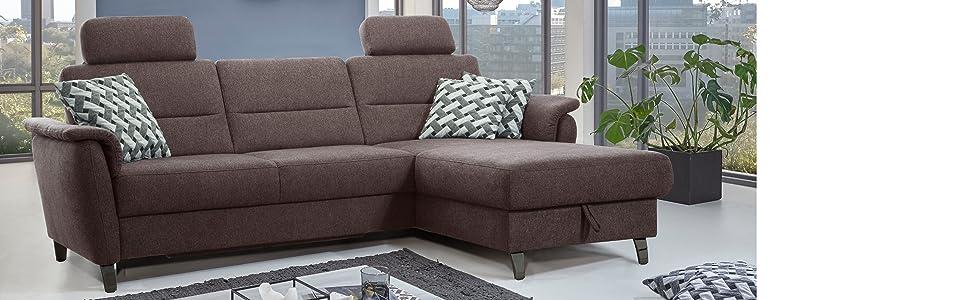 Cavadore Schlafsofa Palera mit Federkern / L-Form Sofa mit ...
