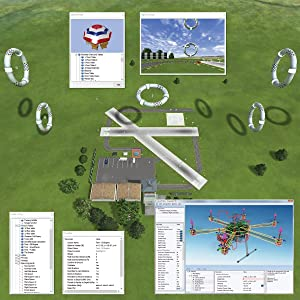 Aerial flying field screenshot showing open editing menus that allow site and aircraft customization