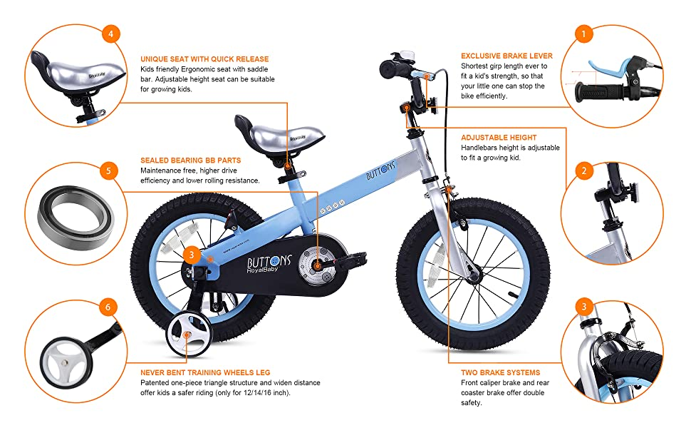 RoyalBaby Honey & Buttons Kids Bike Features: