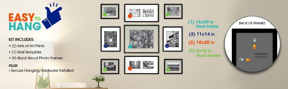 Amazon.com - Gallery Perfect 9 Piece Black Wood Photo Frame Wall ...