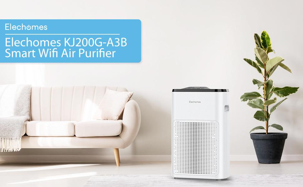 ELECHOMES WiFi Purificador de Aire, para Habitaciones Grandes con 4 en 1 Filtración, Filtro de Aire para Mascotas, Fumadores y Polen, Control WiFi Aplicación, Rango de Acción 325 Sq Ft: Amazon.es: Hogar