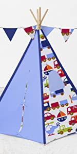 Bacati Transportation Teepee Tent for Kids, 100% Cotton Percale Fabric Cover,