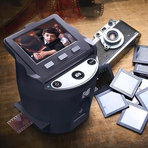 Kodak Digital Film Scanner, Converts 35mm, 126, 110, Super 8 and 8mm Film Negatives and Slides to JPEG Includes Large Tilt Up 3.5 LCD and EasyLoad Film Inserts 15