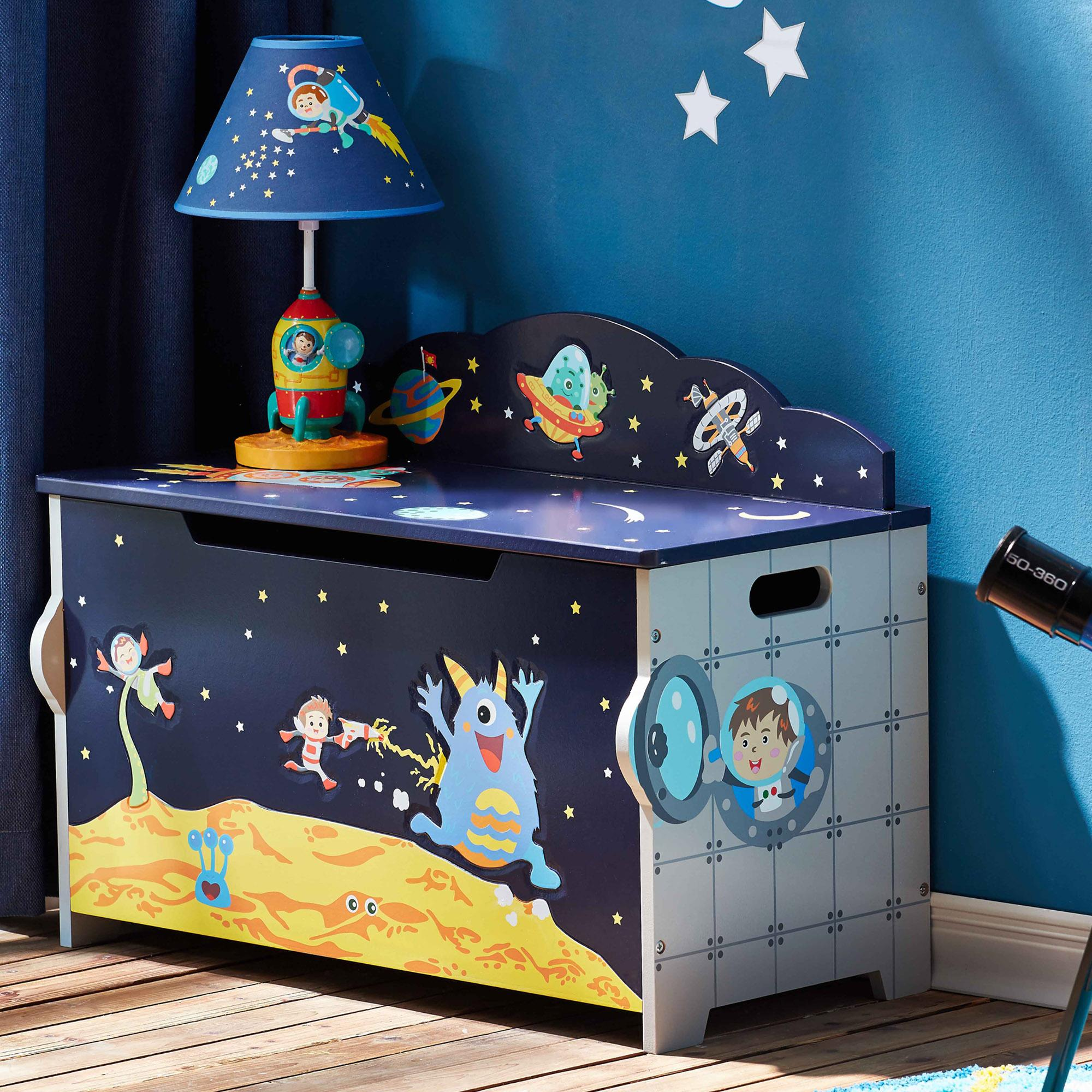 Bookshelf Storage Chest Kids Toy Box Plastic Play Room: Outer Space Themed Kids Wooden Toy Chest