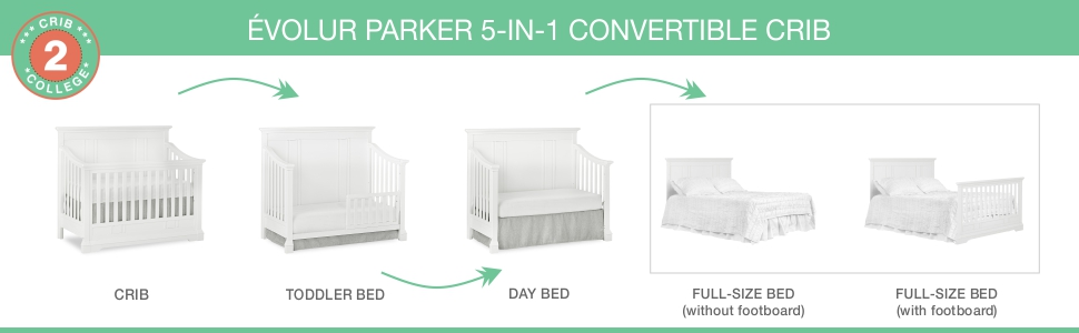 crib, convertible, toddler bed, day bed, full size bed, evolur, dream on me, parker