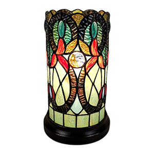 Tiffany Accent LampStained Glass Green Vintage Antique Light Decor Nightstand Living Bedroom