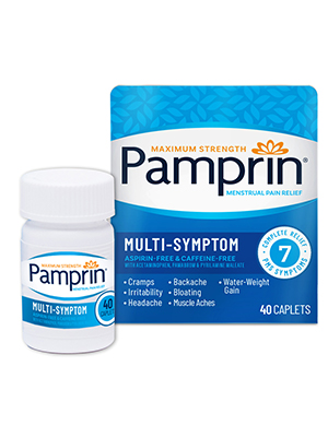 Pamprin multi-symptom period relief bloating headache irritability cramps
