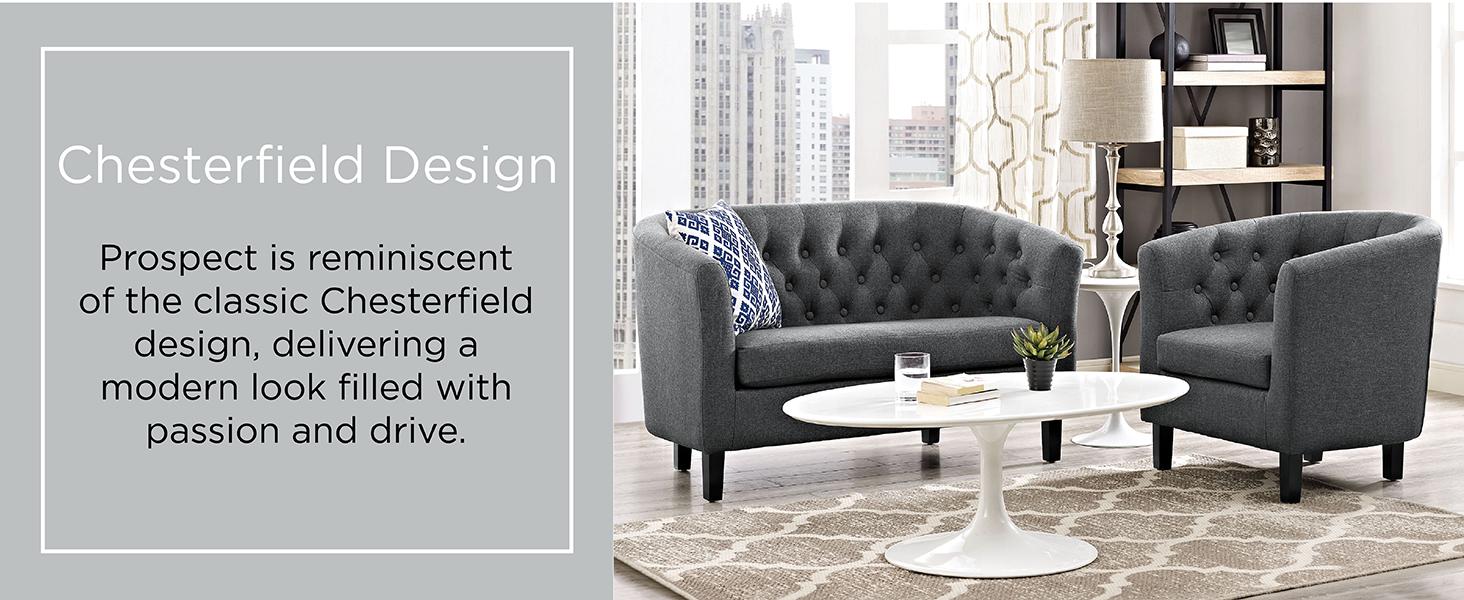 . Modway Prospect Upholstered Contemporary Modern Loveseat In Orange