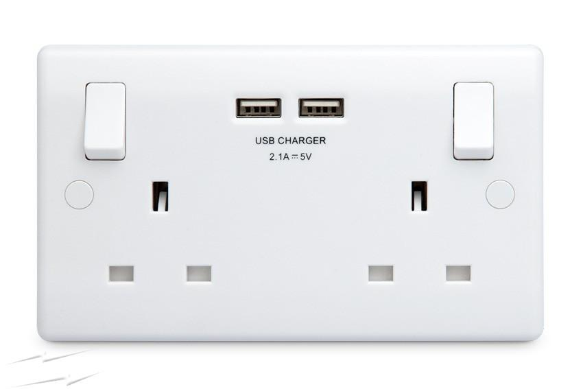 2 Gang USB Double Switched Socket With 2 USB Charger Outlets Wall Plug Socket