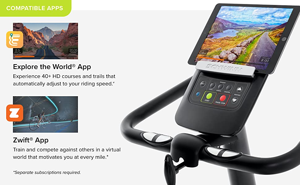 Schwinn 130 Upright Bike App Connectivity Explore the World Zwift