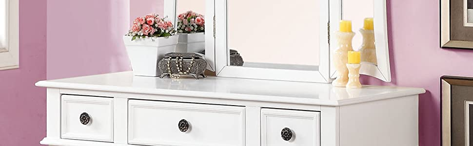 Prime Poundex Bobkona Edna Vanity Set With Stool White Pabps2019 Chair Design Images Pabps2019Com
