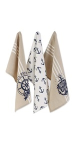 Nautical and maritime-themed dishtowel set.  Images of anchors are printed on the dishtowels.