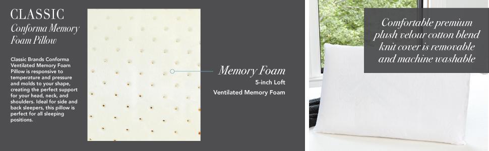 Classic Brands Conforma Cushion Firm Memory Foam Pillow, King, Queen