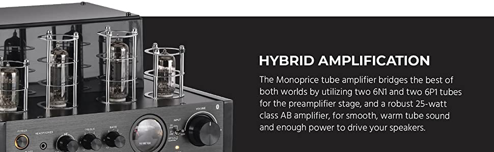 Hybrid amplification, utilizing two 6N1 and two 6P1 tubes for the preamplifier stage