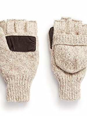 mens the sentry wool fingerless pop top mittens hot shot hunting oatmeal color