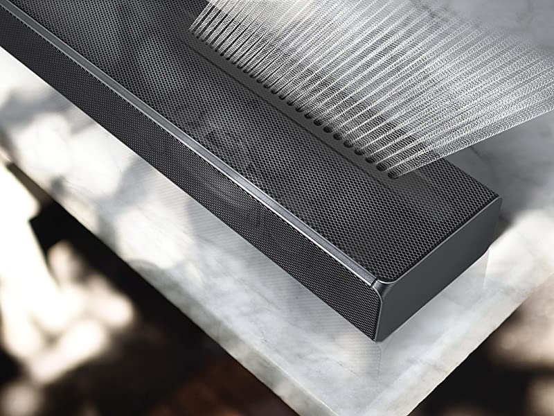 Illustration of sound coming out of the top of the soundbar